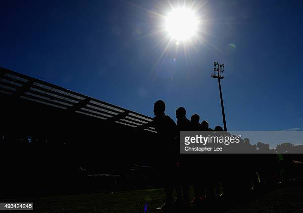 Both teams line up for their national anthems during the Toulon Tournament Group A match between Portugal and Chile at the Stade Perruc on May 23,...
