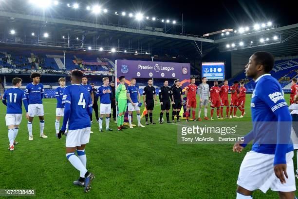 Both teams line up in front off the Rainbow Laces arch before the Premier League International Cup match between Everton U23 and Bayern Munich II at...