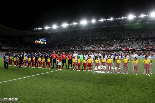 Both team's line up prior to the FIFA Club World Cup UAE 2018 Semi Final Match between River Plate and Al Ain at Hazza Bin Zayed Stadium on December...