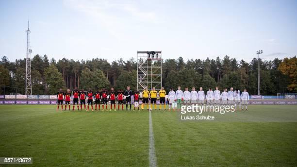 Both teams line up prior to the friendly match between U16 Belgium and U16 Germany on October 3 2017 in Genk Belgium