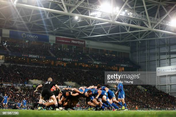 Both teams pack in a scrum during the International Test match between the New Zealand All Blacks and France at Forsyth Barr Stadium on June 23 2018...