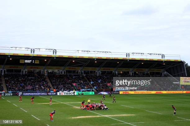 Both teams set up for a scrum during the Challenge Cup match between Harlequins and Grenoble Rugby at Twickenham Stoop on January 12 2019 in London...