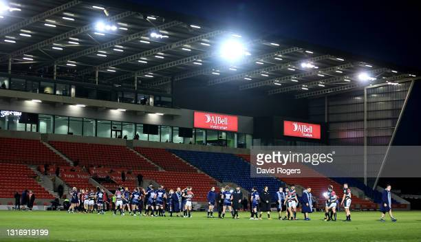 Both teams shake hands after the Gallagher Premiership Rugby match between Sale Sharks and Leicester Tigers at AJ Bell Stadium on May 07, 2021 in...