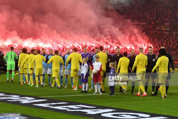 Both teams shake hands ahead of the UEFA Europa League Round of 32 First Leg match between Malmo FF and Chelsea at Malmoe Stadion on February 14 2019...