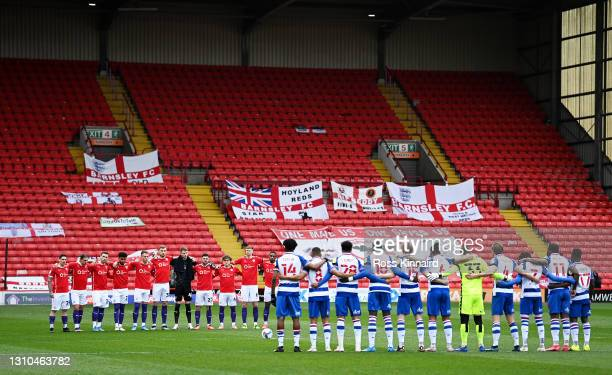 Both teams stand for a minute's silence in memory of former footballer, Lee Collins who recently passed away prior to the Sky Bet Championship match...