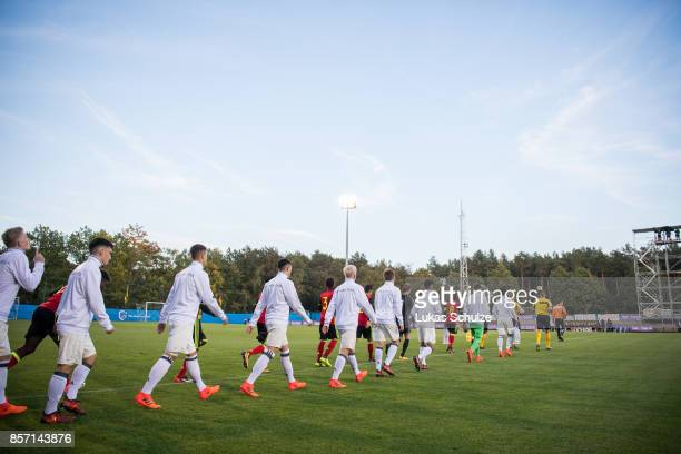 Both teams walk on to the pitch prior to the friendly match between U16 Belgium and U16 Germany on October 3 2017 in Genk Belgium