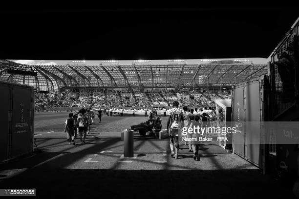 Both teams walk through the tunnel onto the pitch ahead of the 2019 FIFA Women's World Cup France group A match between Nigeria and Korea Republic at...