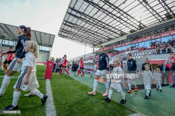 Both teams walking onto the field prior the women friendly match between Germany and Austria on October 5 2018 in Essen Germany