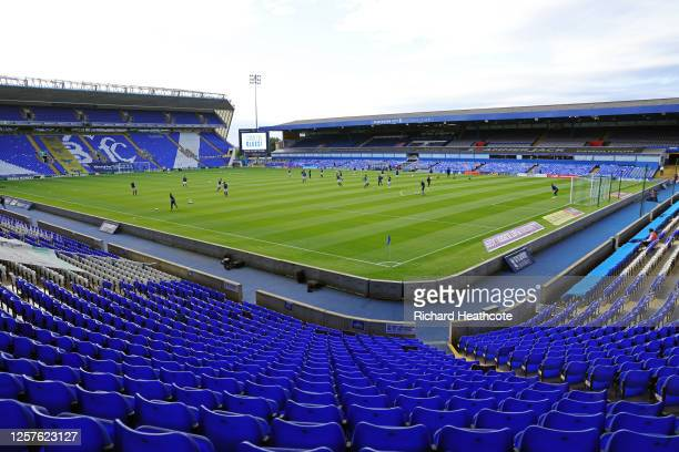Both teams warm up ahead the Sky Bet Championship match between Birmingham City and Derby County at St Andrew's Trillion Trophy Stadium on July 22,...