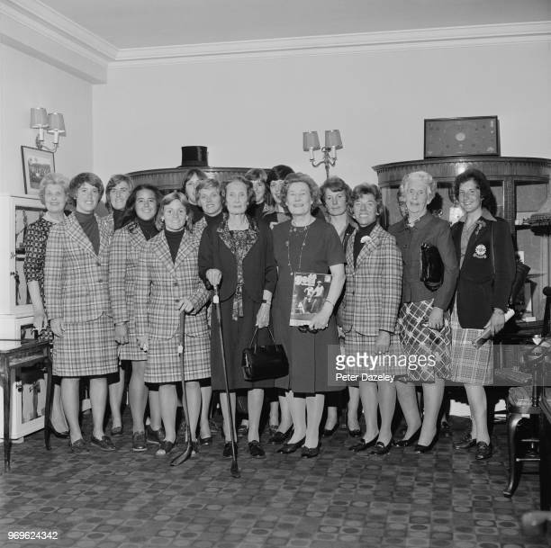 Both the USA and GB Ireland team members photographed with officials of the Golf Society of Great Britain and The Golfers Club at the HQ at 10 Old...