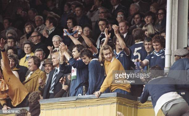 Both Wolves and Chelsea players celebrate in the directors box after a 11 draw at Molineux gave Wolverhampton Wanderers the second Division...