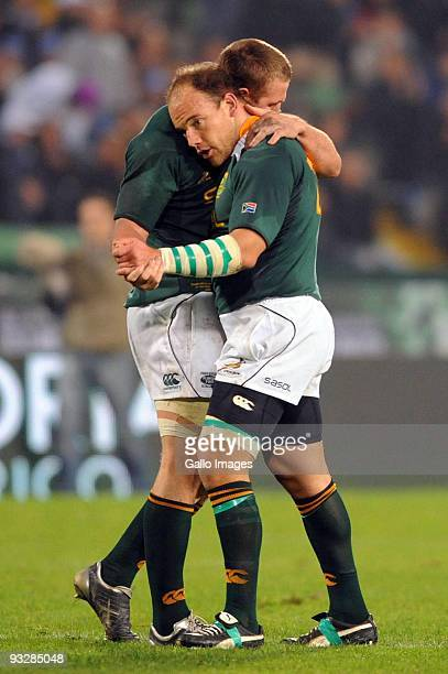Botha of South Africa and Jean Deysel of South Africa celebrate the win during the International match between Italy and South Africa at the Stadio...