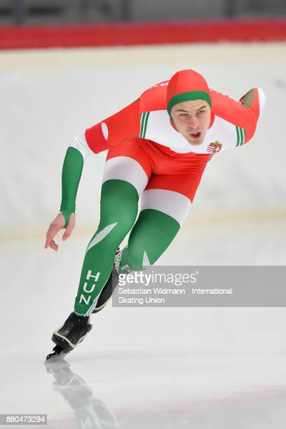 Botond Bejczi of Hungary performs during the Men 1500 Meter at the ISU ISU Junior World Cup Speed Skating at Max Aicher Arena on November 26 2017 in...