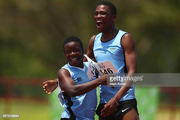 Botswana celebrate victory in the boys 4 x 100m relay during the athletics competition at the Apia Park Sports Complex on day three of the Samoa 2015...