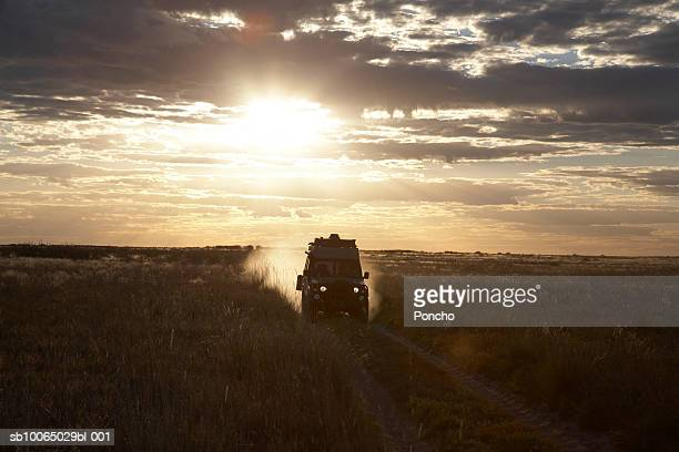 botswana, four wheel drive car driving across field at sunset - 4x4 stock pictures, royalty-free photos & images
