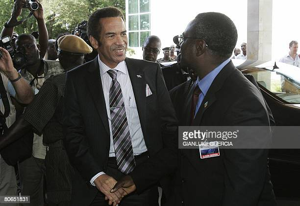 Botswana president Ian Khama arrives to an extraordinary Southern African Development Community meeting in Zimbabwe on April 12 2008 at the...