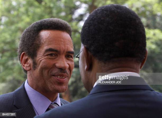 Botswana President Ian Khama is greeted by South Africa President Kgalema Motlanthe at the opening of the Southern African Development Community...
