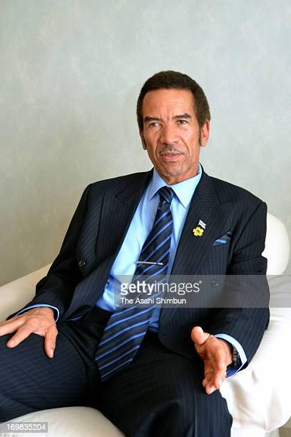 Botswana president Ian Khama speaks during the Asahi Shimbun Interview on the sidelines of the threeday TICAD on June 1 2013 in Yokohama Kanagawa...