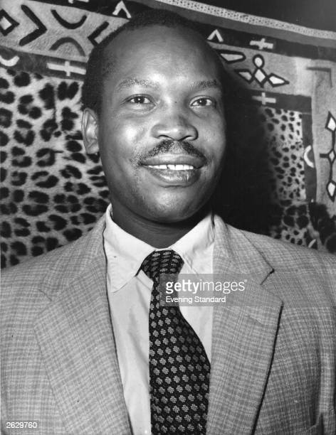 Botswanan politician Sir Seretse Khama at home in Croydon.