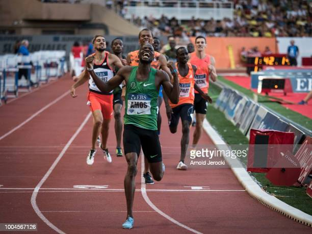 Botswana's Nijel Amos celebrates after victory in the men's 800 metres at the IAAF Diamond League athletics 'Herculis' meeting at The Stade Louis II...