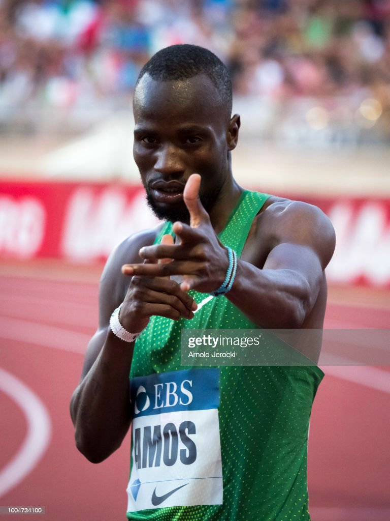 Botswana's Nijel Amos (C) celebrates after victory in the men's 800 metres at the IAAF Diamond League athletics 'Herculis' meeting at The Stade Louis II on July 20, 2018 in Monaco, Monaco.