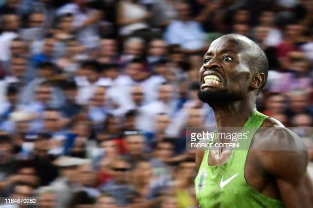 Botswana's Nijel Amos crosses the finish line and arrives second in the Men 800m during the IAAF Diamond League competition on August 29 in Zurich.