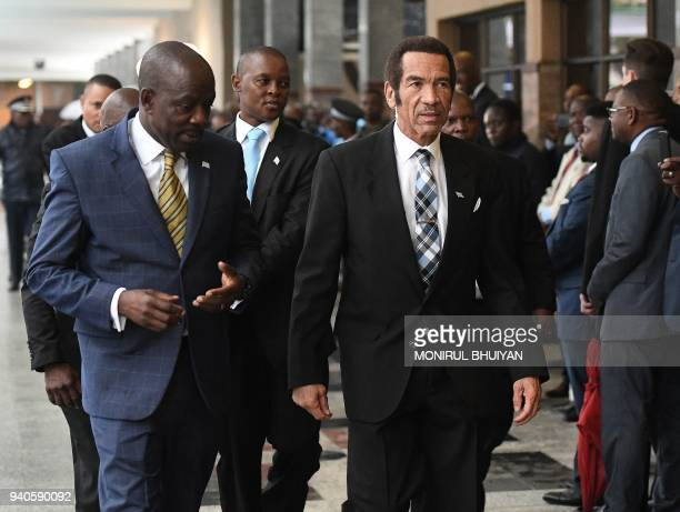 Botswana's outgoing president Seretse Khama Ian Khama arrives for the inauguration of the new President at the National Assembly in Gaborone on 1...