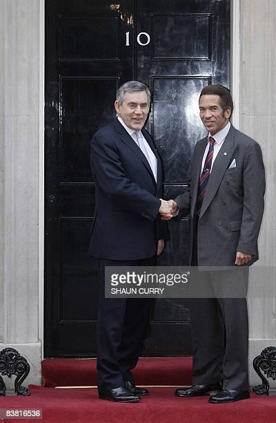 Botswana's President Ian Khama greets Britain's Prime Minister Gordon Brown outside 10 Downing Street in central London on November 25 2008 AFP...