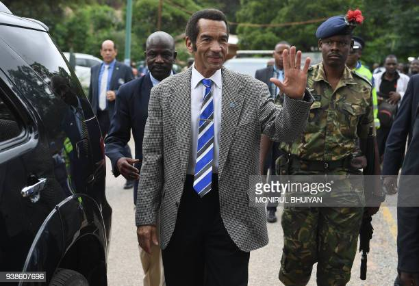 Botswana's President Seretse Ian Khama arrives for a rally in his village Serowe on March 27 before officially stepping down on March 31 and handing...