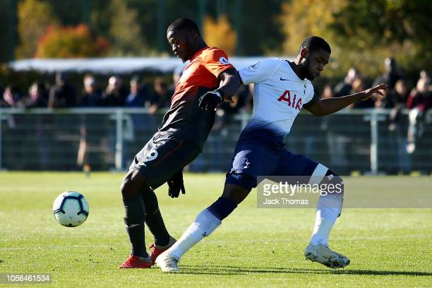Botti Biabi of Swansea City is challenged by Japhet Tanganga of Tottenham Hotspur during the Premier League 2 match between Tottenham Hotspur and...