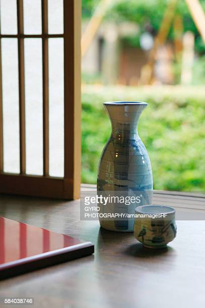 Bottle and cup of Sake