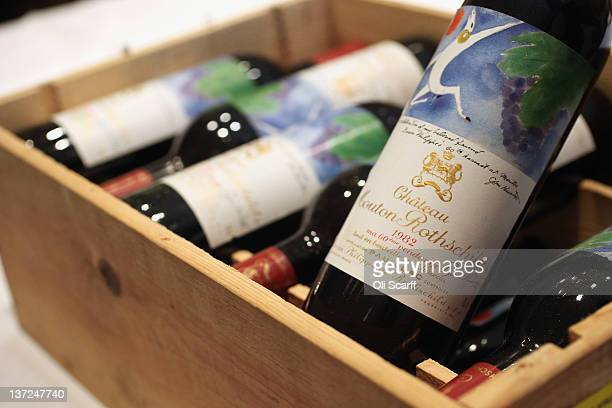 A 12 bottle case of Chateau Mouton Rothschild from 1982 in Sotheby's auction house on January 17 2012 in London England The wine is due to be...