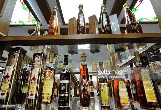A bottle containing 50 yearold brandy named Prince Wittgenstein are displayed at the an exhibition at the wine and brandy distillery based in...