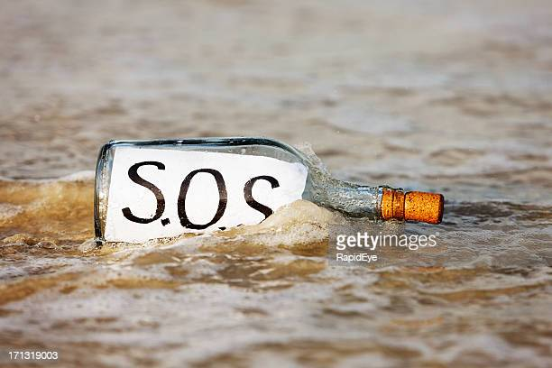 Bottle containing SOS message getting washed away