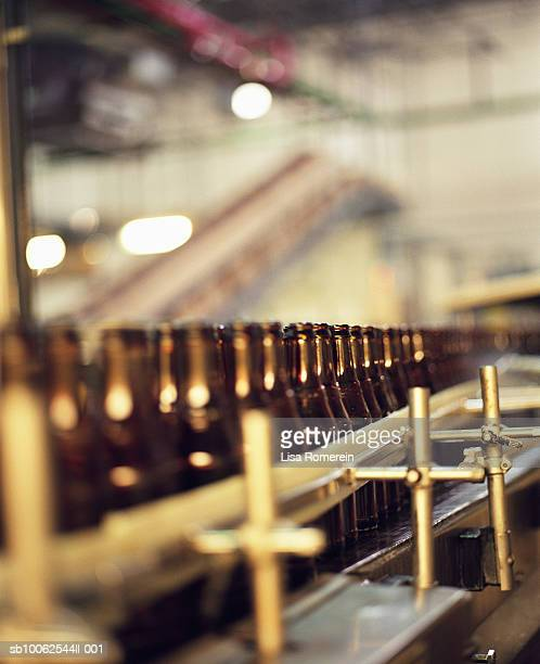 Bottle filling production line in brewery