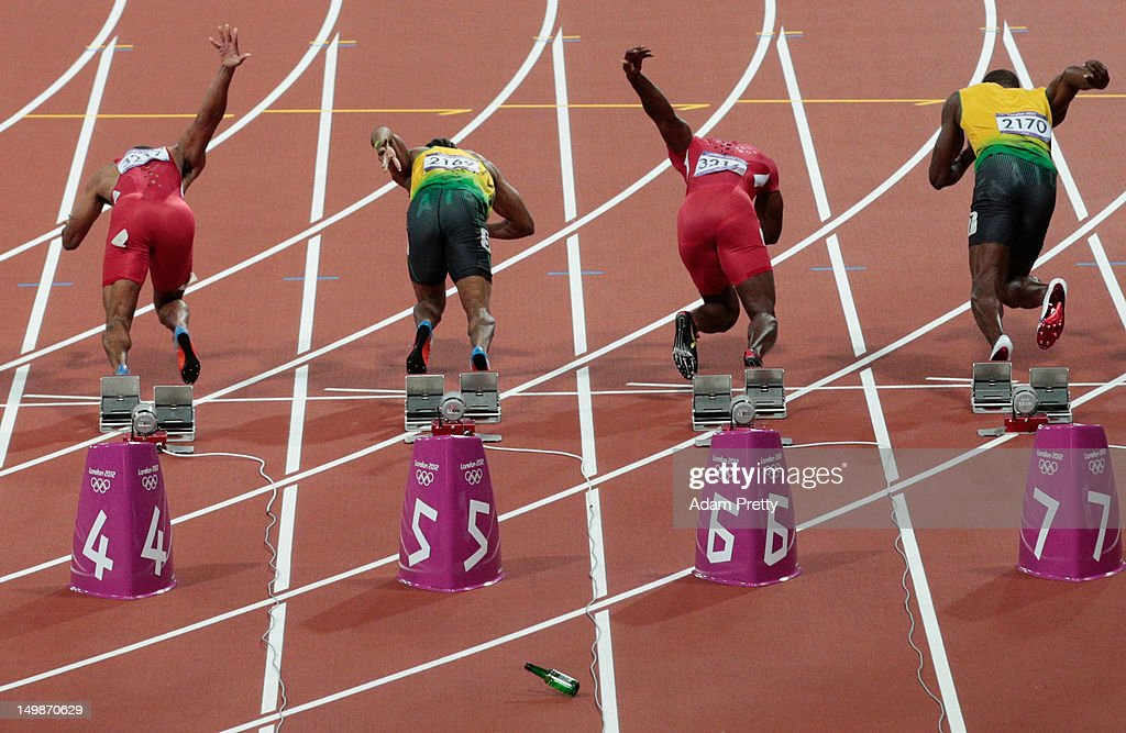 A bottle is thrown onto the track at the start of the Men's 100m Final on Day 9 of the London 2012 Olympic Games at the Olympic Stadium on August 5, 2012 in London, England.