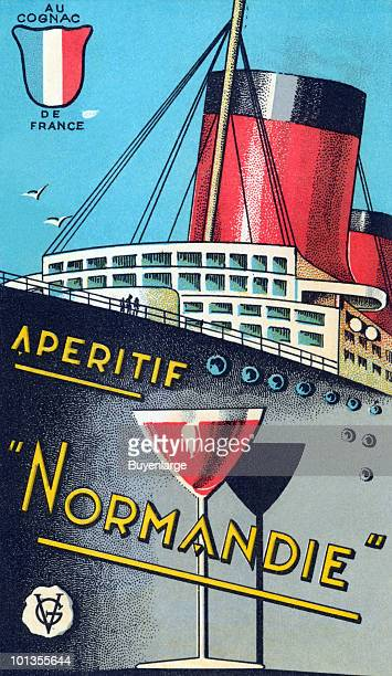 A bottle label for a cognac features an illustration of the luxury passenger liner Normandie