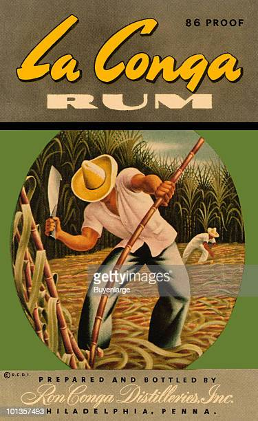A bottle label for La Conga Rum features an illustration of a man as he cuts down sugar cane with a large knife