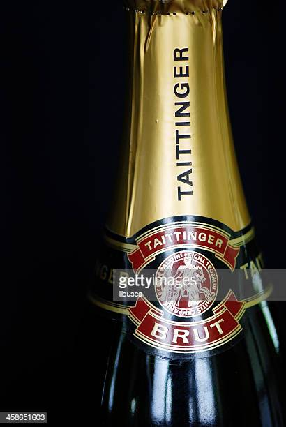 bottle label of taittinger champagne wine - campania stock pictures, royalty-free photos & images