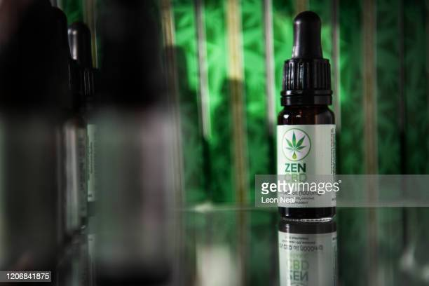 Bottle of 1000mg CBD oil is seen in a display case in a branch of the health chain Planet Organic on February 17, 2020 in London, England. The...