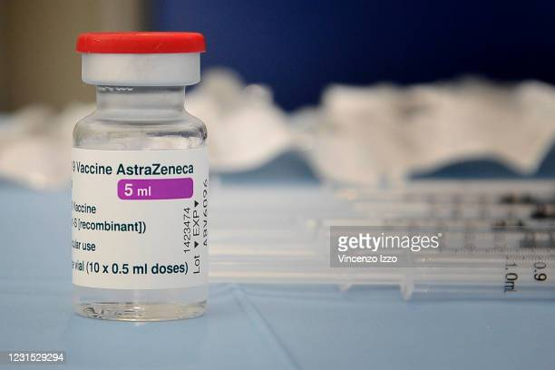 Bottle of astrazeneca vaccine ready to be divided into various syringes to be administered to patients. Inaugurated in Caserta, within the...
