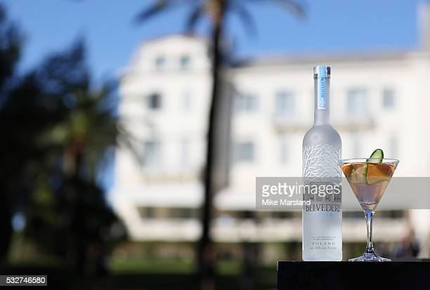 A bottle of Belvedere Vodka is seen alongside an amfAR martini cocktail during the amfAR's 23rd Cinema Against AIDS Gala cocktail reception at Hotel...