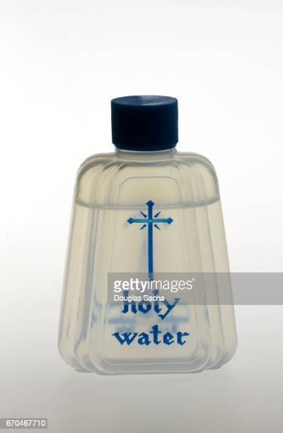 Bottle of blessed holy water for religious celebrations