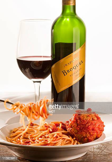 A bottle of bonarda wine works well with spaghetti and meatballs