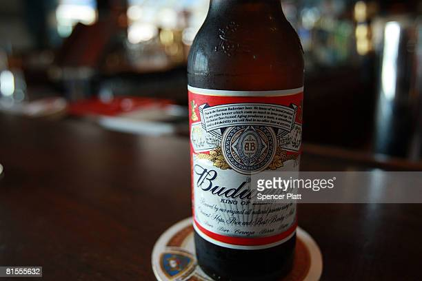 Bottle of Budweiser beer is displayed at a bar June 13, 2008 in New York City. The Belgian-Brazilian brewer InBev has made an offer of $46.3 billion...