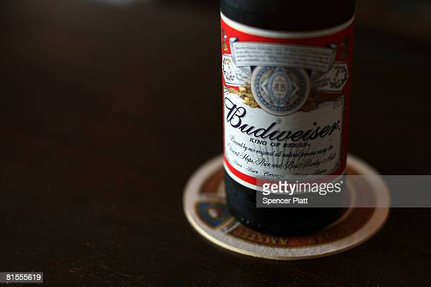 A bottle of Budweiser is displayed at a bar June 13 2008 in New York City The BelgianBrazilian brewer InBev has made an offer of $463 billion bid for...