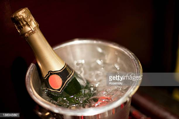 A bottle of champagne chills in an ice bucket