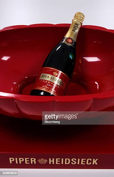 Bottle of champagne sits on display at the Piper-Heidsieck champagne factory, owned by Remy-Cointreau, in Reims, France, on Monday, July 21, 2008....