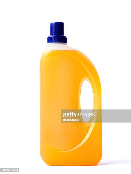 Bottle of detergent on a white background.