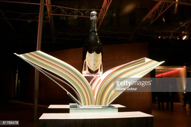 A bottle of Dom Perignon is seen on display at the LVMH party to present the new packaging of the Vintage Dom Perignon bottle of champagne designed...